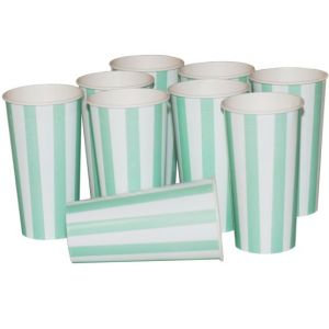 Green Candy Stripe Cups
