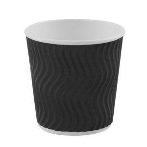 4oz Black Ripple Disposable Cups