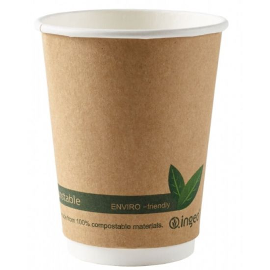 12oz Double Wall Compostable Cups Ingeo (100)