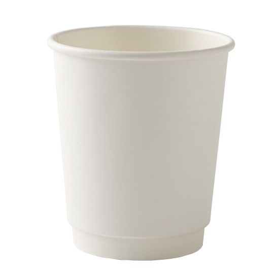8oz Smooth White Double Wall Disposable Coffee Cups & Lids
