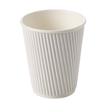 12oz White Ripple Cups