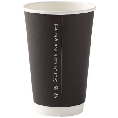 16oz Black Double Wall Cups (100)