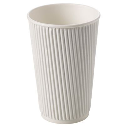 White Ribbed Cups