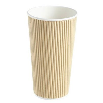 20oz Kraft Ripple Disposable Cups