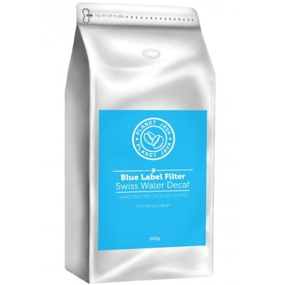 Planet Java Blue Label Swiss Water Decaf Arabica Filter Ground Coffee (500g)