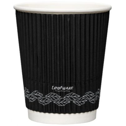 8oz Black Ripple Disposable Cups