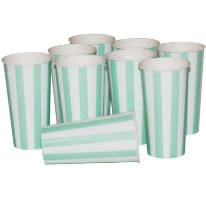 Green Candy Stripe Cold Cup